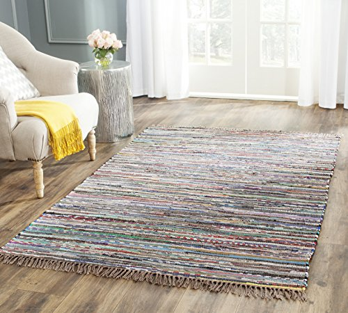 Safavieh Rag Rug Collection RAR121E Hand Woven Rust and Multi Cotton Square Area Rug (4' Square) Luxe Cotton Collection