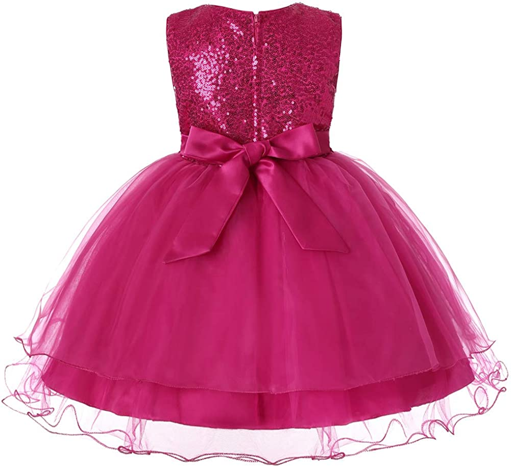 Girls Sequin Mesh Flower Ball Gown Tulle Princess Dress Tutu Birthday Party Dress