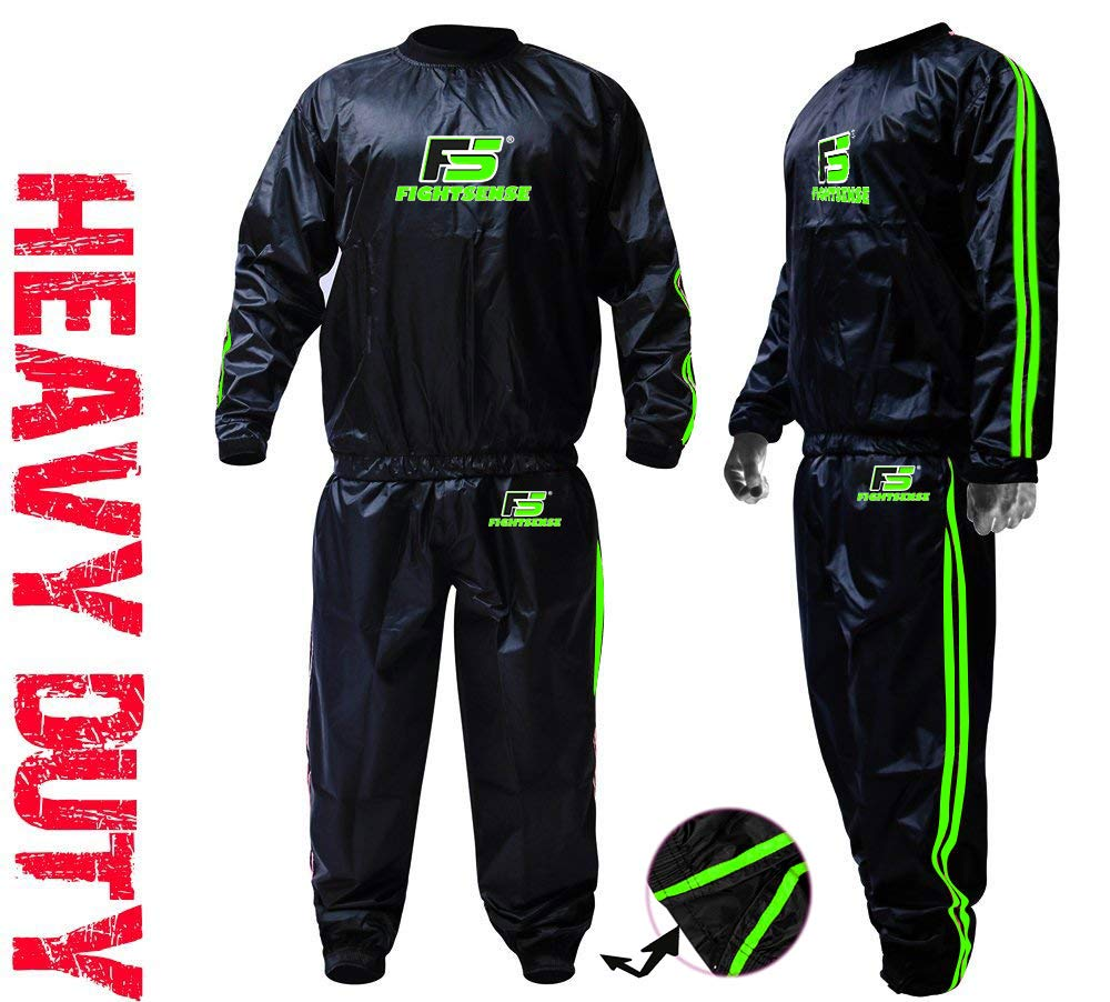 FIGHTSENSE MMA Sauna Sweat Suit Non Rip Track Weight Loss Slimming Fitness Gym Exercise Training (Green, 8XL) by FIGHTSENSE