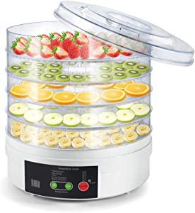 Electric Food Fruit Dehydrator Machine, Portable Countertop Adjustable Thermostat, BPA-Free 5-Tray,for Jerky, Fruit, Vegetables & More, White (Temperature&Timing Control)