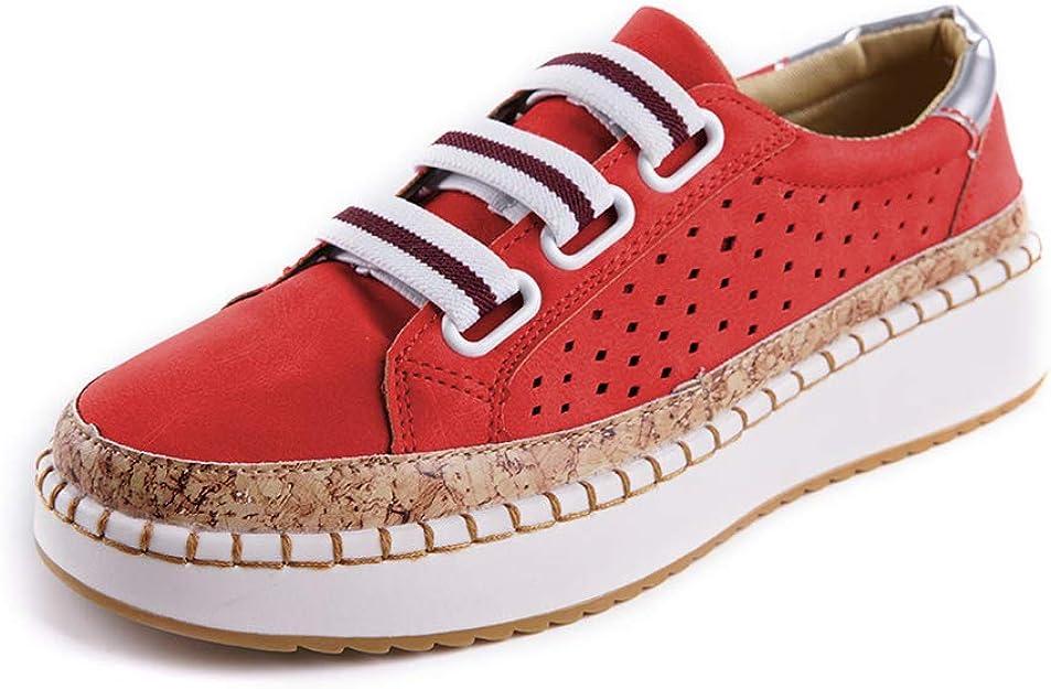 Image of Zapatos Mujer Plataforma Alpargatas Planos Mocasines Cuña 4cm Zapatillas Deportivos Dama Elegantes Comodos Negro Verde Rojo Azul 35-43