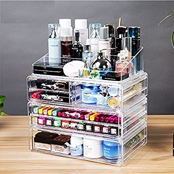 Amazoncom Cq Acrylic Extra Large Tier Clear Acrylic Cosmetic - Acrylic cube makeup organizer with drawers