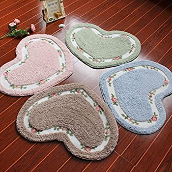 Kerocy Rug Soft Lovely Heart Shaped Pad Non-slid Door Mat Bathroom Home Floor Decoration Carpet (Pink)