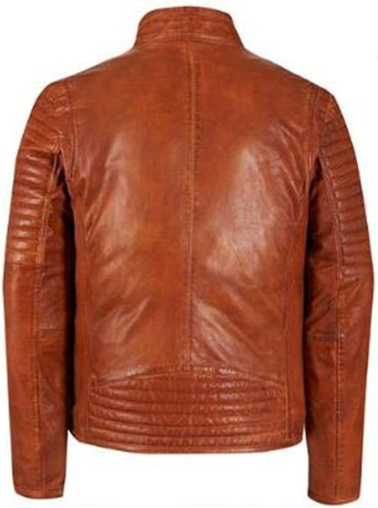 New Mens Leather Soft Lambskin Motorcycle Bomber Party Jacket LF879