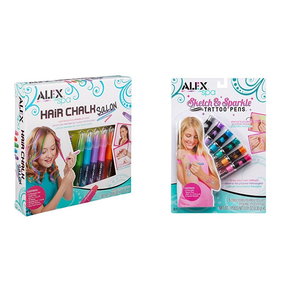 ALEX Spa Hair Chalk Salon with ALEX Spa Sketch and Sparkle Tattoo Pens Bundle