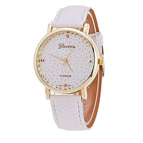 vavna Fashion Geneva Platinum reloj de flores, las mujeres de piel relojes – blanco/