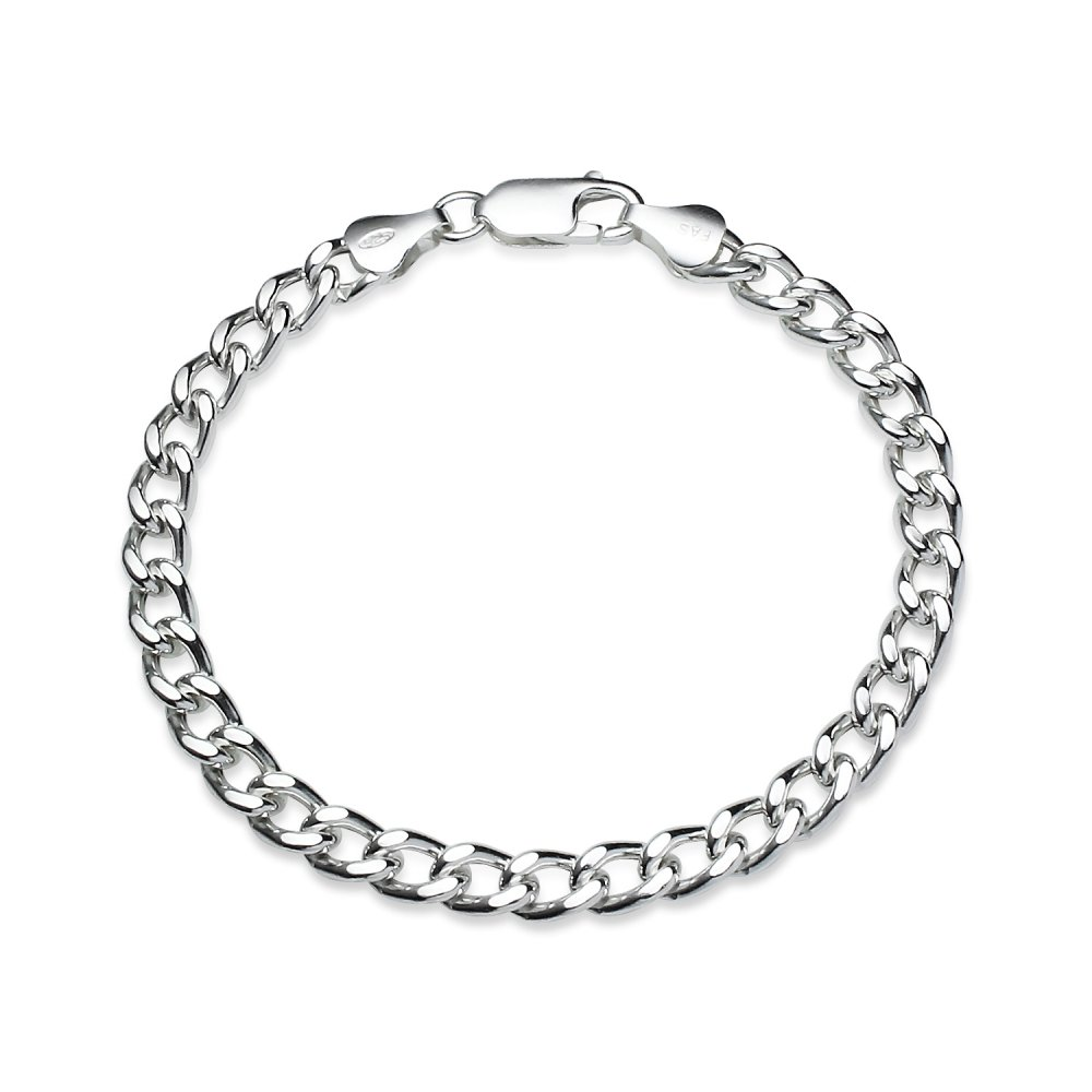 Sterling Silver High Polished Italian 5mm Curb Cuban Chain Bracelet, 7 Inches