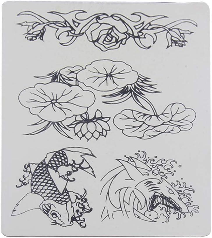 SUPVOX Piel para Práctica Tatuaje Tattoo Tatuar con Patrón de Lotus Carpa de Silicona Piel para Tatuaje Aprendizaje Entrenamiento 5 Piezas: Amazon.es: Salud y cuidado personal