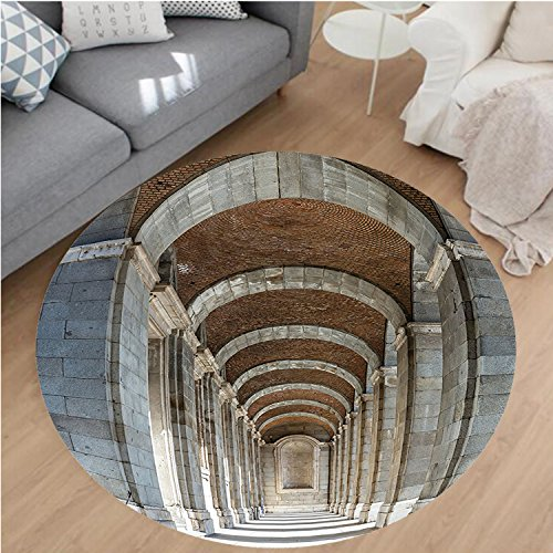 Nalahome Modern Flannel Microfiber Non-Slip Machine Washable Round Area Rug-Palace Corridor Madrid Spain Historic Famous European Landmark Facade Picture Print Grey area rugs Home Decor-Round 79'' by Nalahome