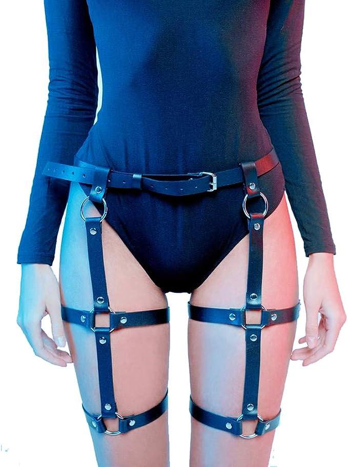 Womens Faux Leather Waist Leg Cincher Garter Belt Harness Punk Costume CLUB