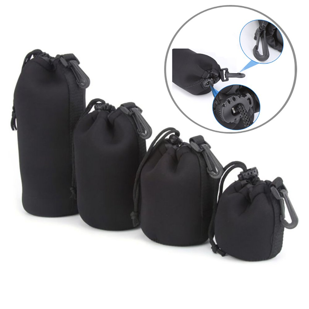 4 Pcs (S+M+L+XL) Camera Neoprene DSLR Lens Soft Pouch Protector Case Cover Sleeve Bag Set for Canon Nikon SLR DSLR Camera Groupcow