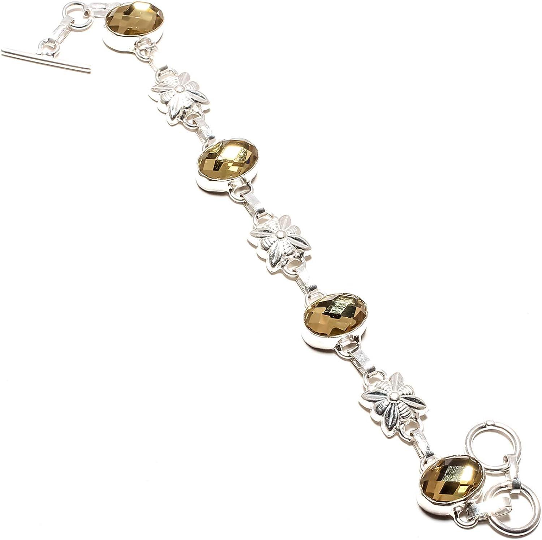 jewels paradise SF-1115 - Pulsera de Plata de Ley 925 con Piedras Preciosas de topacio místico Amarillas facetadas, Ajustable, Flexible