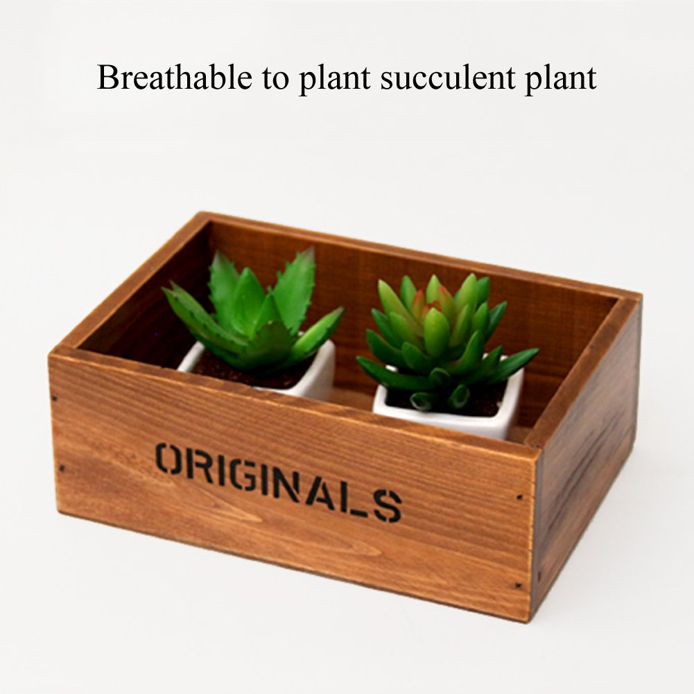 Coideal Wooden Tray Desktop Storage Holder/Remote Control Caddy Organizer Wood Box Container for Drawer, Desk, Office Supplies, Home, End Table (Vintage Wood Color, 19 x 13 x 6.5 cm) by Coideal (Image #5)
