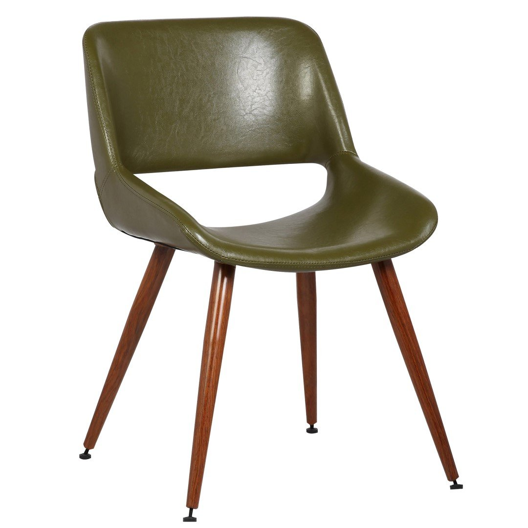 Porthos Home Shane Dining Accent Chair with woodent finish, Single, Green