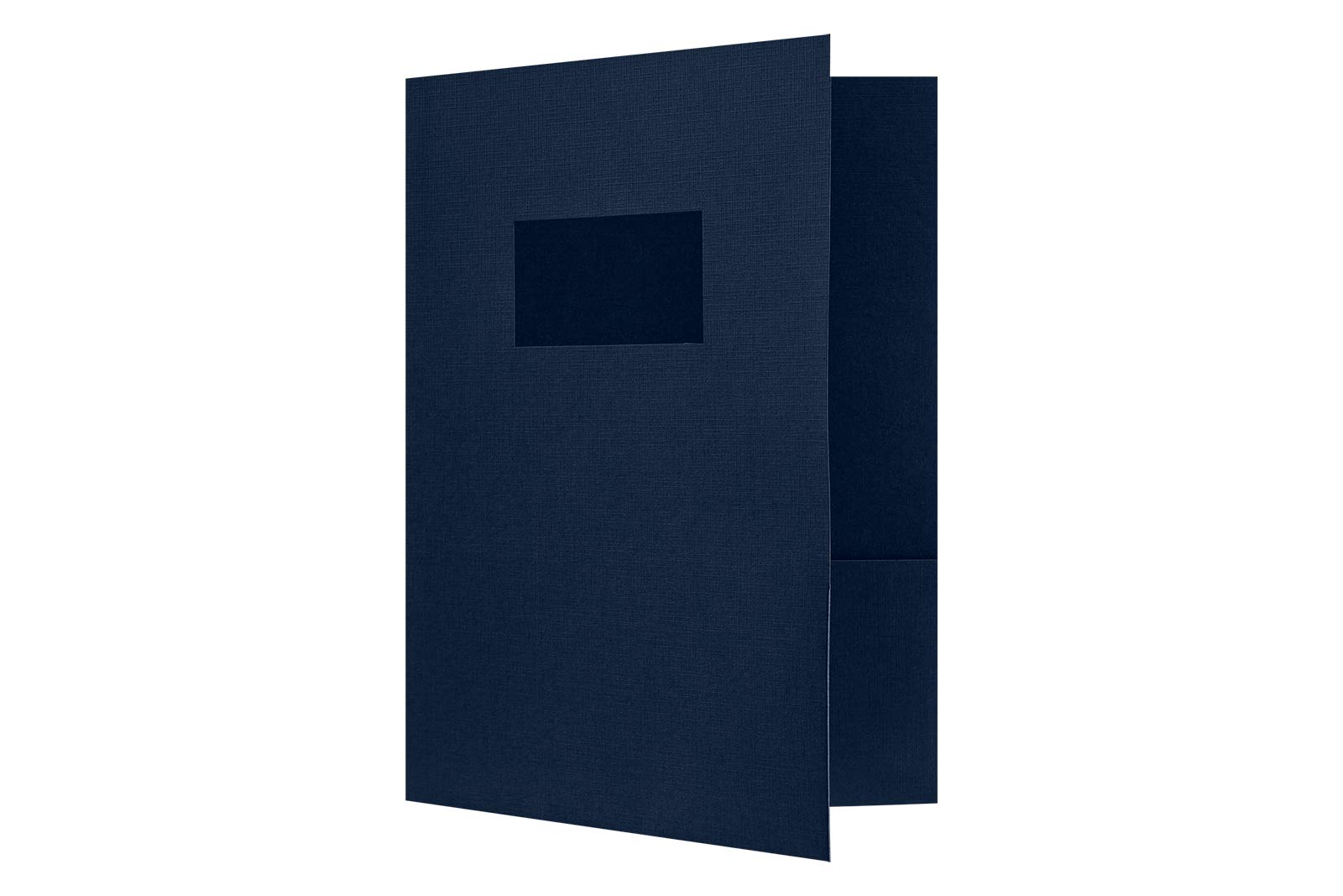 9 x 12 Presentation Folders - Standard Two Pocket w/Front Cover Window - Dark Blue Linen - Pack of 25 | Perfect for Tax Season, Brochures, Sales Materials and so Much More! | SF-102-DDBLU100-25 by Envelopes.com