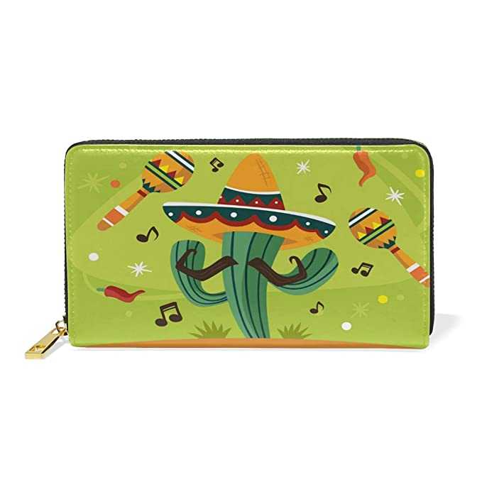 8a4bb55013a0 Mexico Music Cactus Leather Womens Zipper Wallets Clutch Coin Case ...