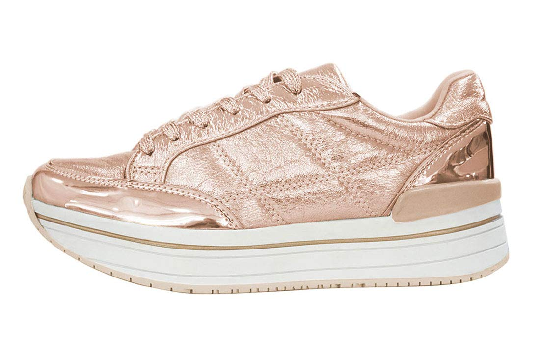 Lucky Step Walking Shoes Metallic Platform Sneakers Women PU Lace up Casual Shoes (8 B(M) US, Rose Gold)