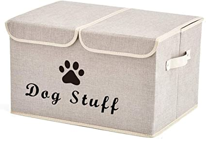 Large Dog Toys Storage Box Canvas Storage Basket Bin Organizer with Lid Light Gray Perfect Collapsible Bin for Organizing Dog Cat Toys and Accessories