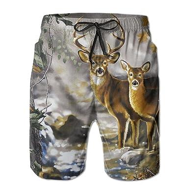 8eed6857ec Amazon.com: Real Tree Camouflage Deer Men's Swim Trunks Quick Dry Beach  Shorts Beach Surfing Running Swimming Swim Shorts: Clothing