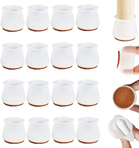 Chair Leg Protectors for Hardwood Floors, Felt Bottom Chair Leg Covers, Silicone Furniture Foot Protector Pads, Free Moving Stool Table Leg Protector Caps to Prevent Scratches Noise (16PCS)