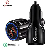 JOYSEUS Quick Charge 3.0 Car Charger, 3.1A Dual USB Ports 36W Fast Car Adapter Metal Compatible with Samsung Galaxy S10 S9 S8 Plus Note 10 9 8 S7, iPhone XR X 8 7 6 5, iPad, LG G6 V20, Moto etc …