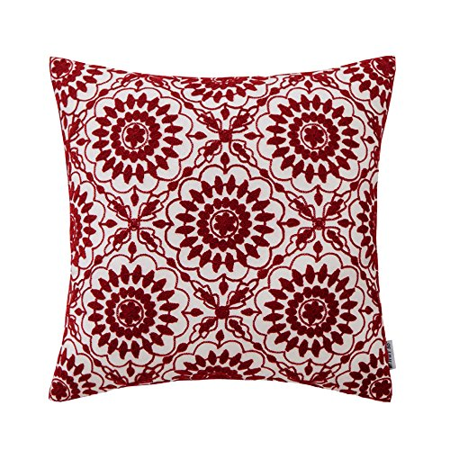 ive Throw Pillows Covers for Couch Sofa 18 x 18 inch, One Piece Cotton Embroidered Throw Pillows Cases for Bed, Wine Red Little Sunflower Cushion Covers ()