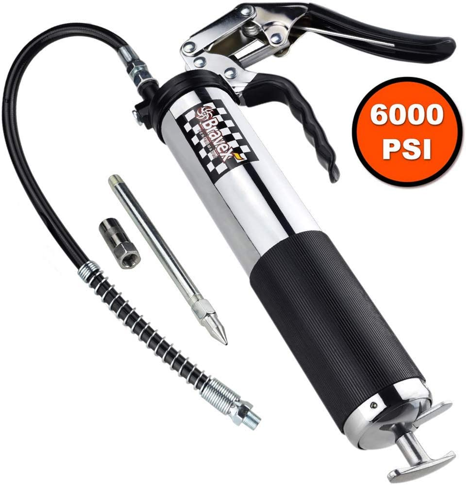 Bravex Heavy Duty Professional Pistol Grip Grease Gun 6000 PSI - 18 inch Flex Hose …