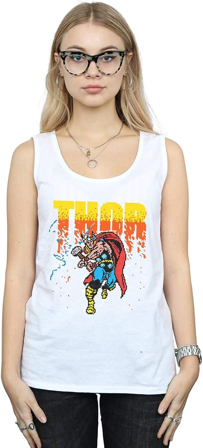 Marvel Mujer Thor Pixelated Camiseta Sin Mangas: Amazon.es ...
