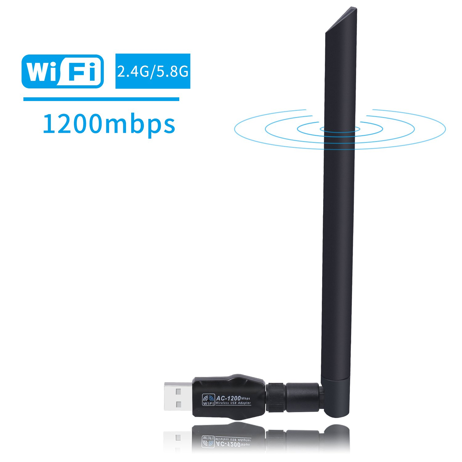 WiFi Adapter Wlan Stick USB 3.0 1200 Mbit/s 5dBi Wireless DualBand (5.8G/867Mbps+2.4G/300Mbps) Antenna WiFi Adapter für Windows XP/7/8/10/Vista/Server, MAC OS  1Dealer LTD