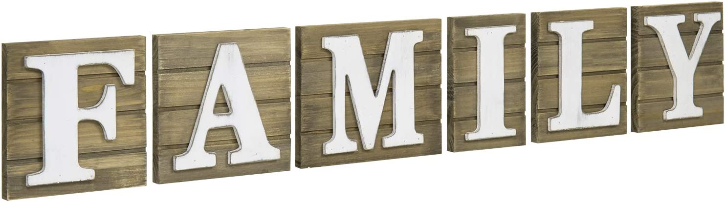 MyGift Rustic Brown Wood with White Family Text Decorative Letter Wall Mounted Sign Plaque Decoration