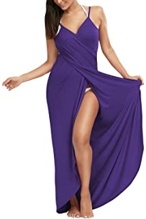 d94f490cddf Dromild Women s Spaghetti Strap Bikini Cover Up Backless Beach Wrap Long  Dress