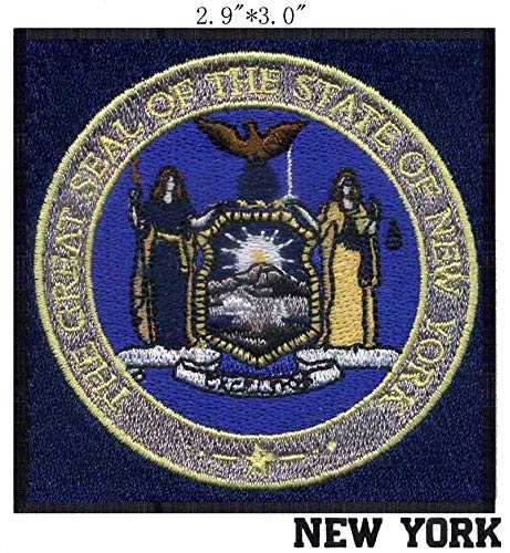 New York State Seal 2.9inchWide Embroidered Embroidery Needlework Sewing Patch Patchwork for Sun/Eagle/Flying Dearm