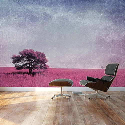 Purple Lone Tree over a Magenta field of Flowers Landscape Wall Mural