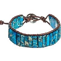 Amazon Price History for:Plumiss Leather Chakra Handmade Imperial Jasper Wrap Adjustable Bead Bracelet