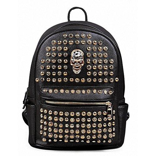 Backpack Bag Rivet PU Skull Womens Black Women Girl - 6
