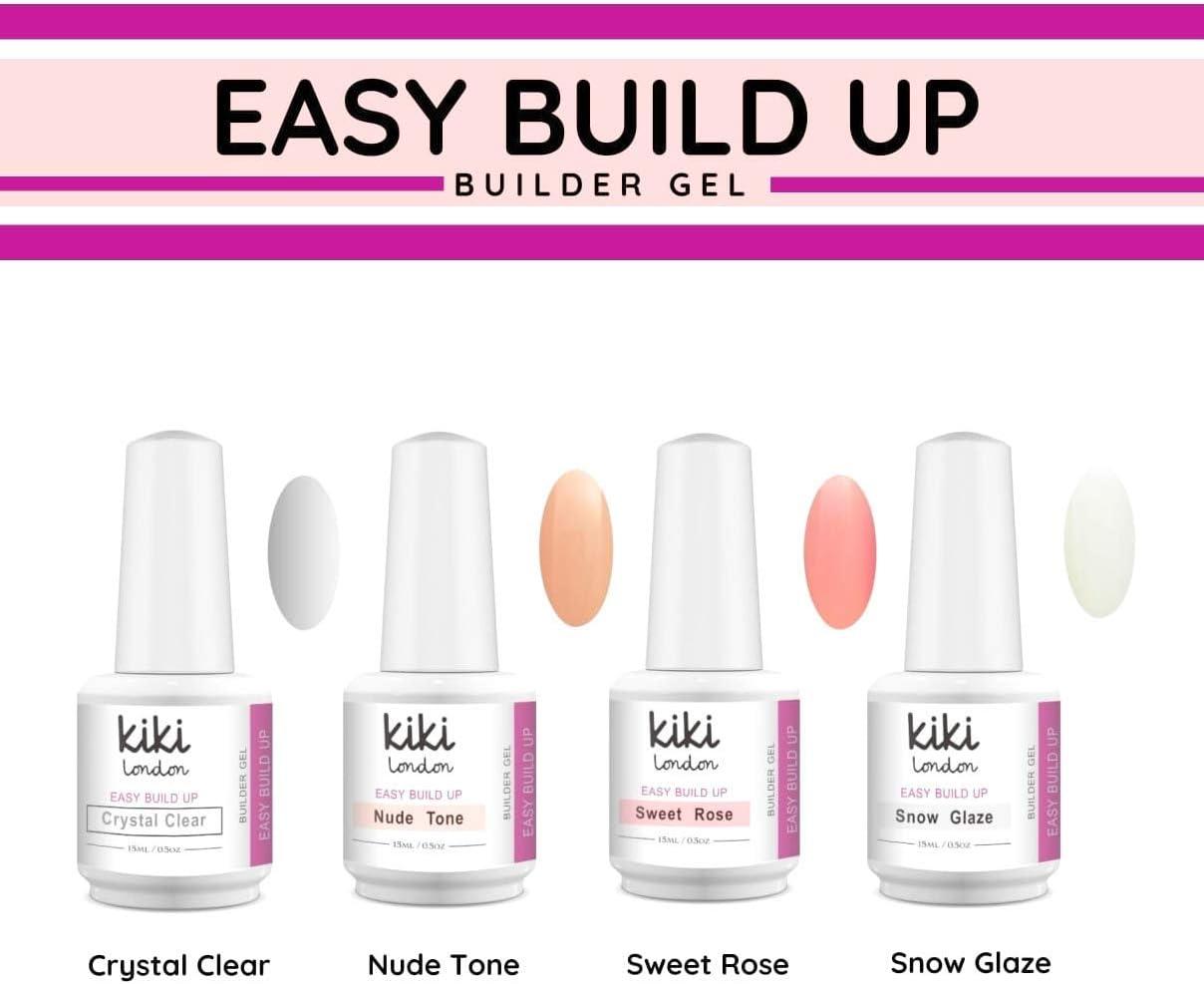 Easy Build Up – Gel de constructor por Kiki London | Pack de 4 | Esmalte de gel soak off/UV/LED | calidad de salón de preimum | grande 15 ml: Amazon.es: Belleza