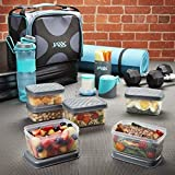 Fit & Fresh JAXX FitPak Deluxe Meal Prep Bag with Portion Control Container Set, Handy Snack Container, 24-oz. Active Water Bottle/Shaker and Ice Pack, Teal