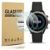 Diruite 3-Pack for Fossil Sport 43mm 2018 Screen Protector Tempered Glass for Fossil Sport 43mm Gen 4 Watch [2.5D 9H…