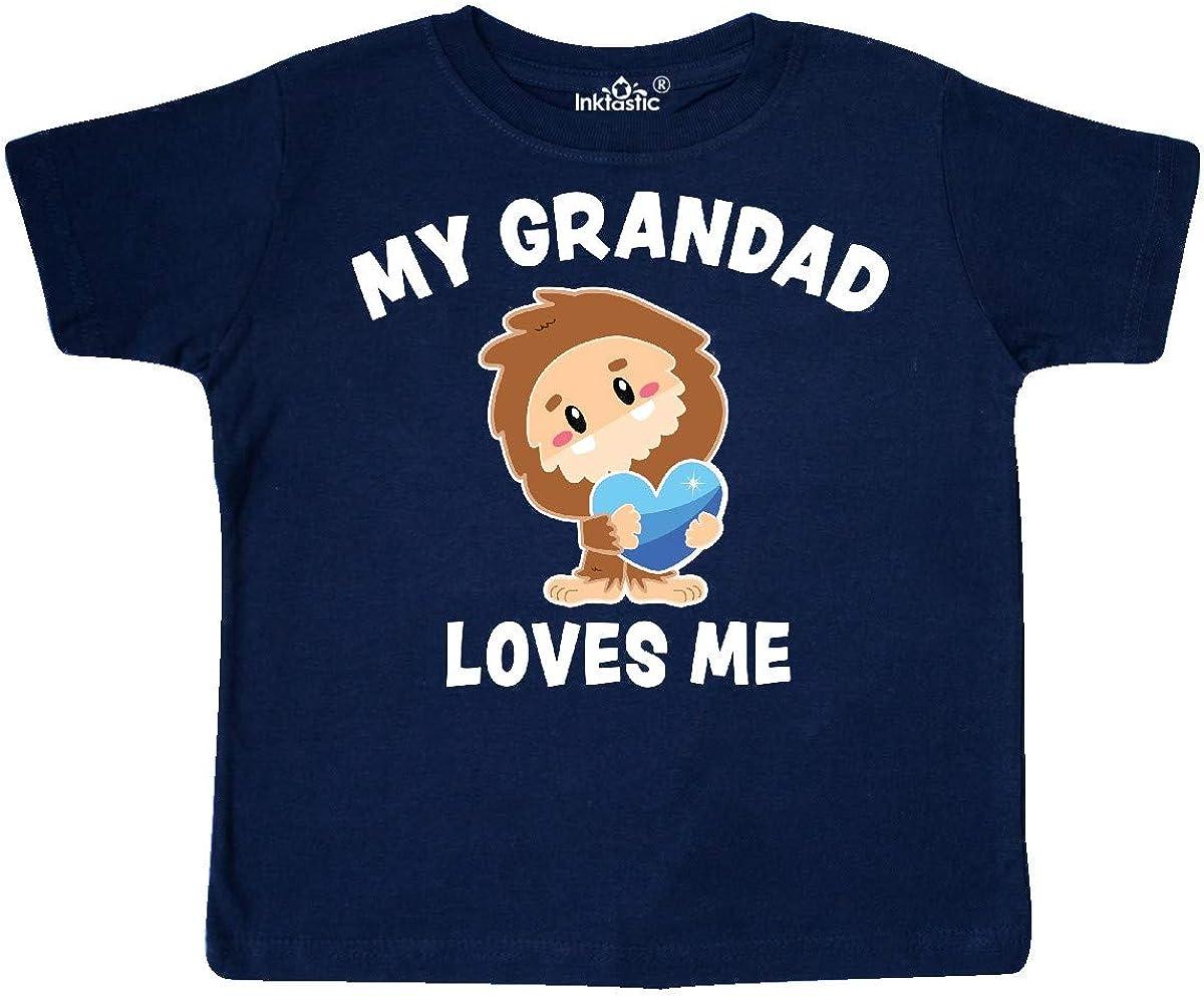 inktastic Cute Bigfoot My Grandad Loves Me Toddler T-Shirt