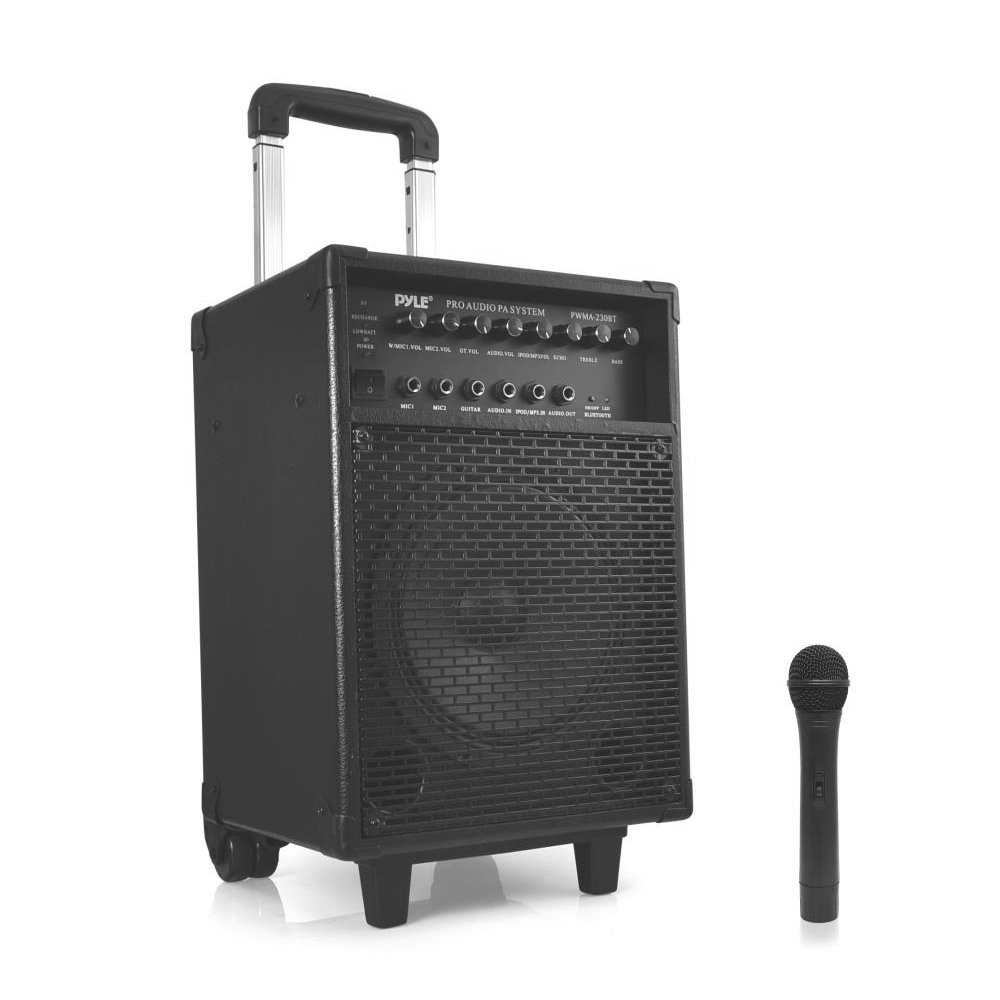Pyle PWMA230BT - Bluetooth Wireless & Portable PA Karaoke Speaker System, Built-in Rechargeable Battery, Wireless Microphone Sound Around