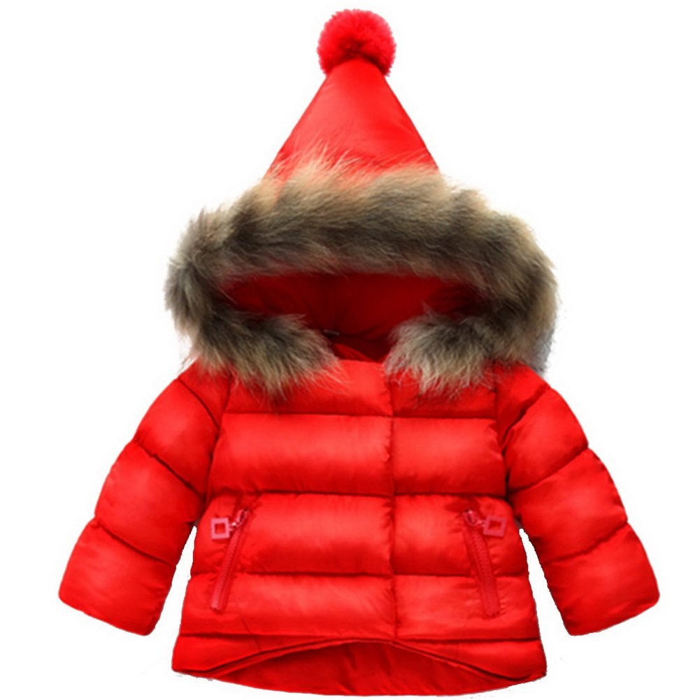 ARAUS Cute Baby Boys Parka Down Jacket Girls Thick Collar Outerwear Kids Coat Winter Warm Children Clothes for 0-7 Years