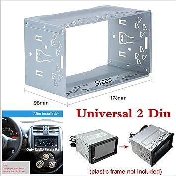 Jaula de montaje universal de metal para radio, 2 DIN, DVD ...
