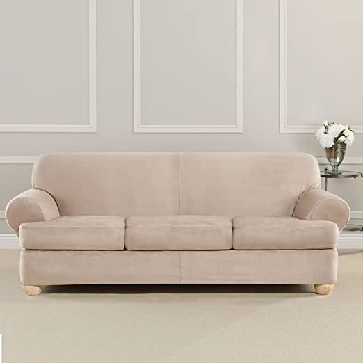SURE FIT Ultimate Heavyweight Stretch Suede Slipcover (Cement, 3 Piece  T-Cushion Sofa)