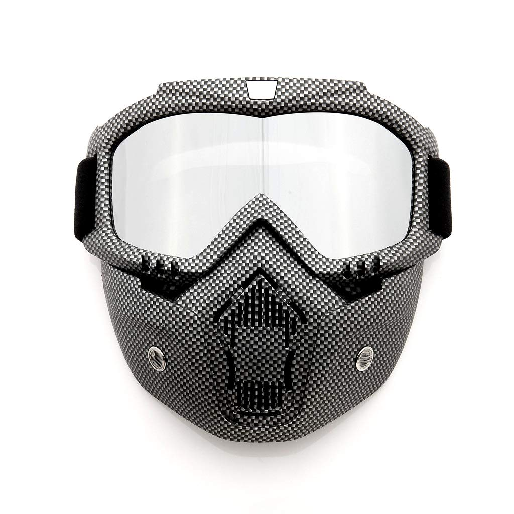 Professional Motorcycle Helmet Goggles Fog-proof Warm Goggles Mouth Filter Adjustable Non-slip Strap Classic Face Mask for Fight Snowmobiling Motocross Dirt Bike Detachable Dust Mask