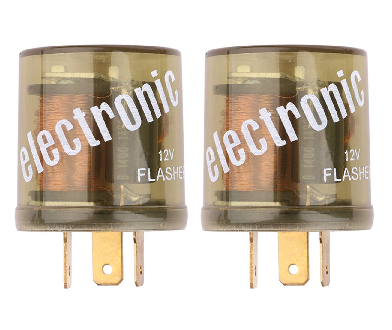 Electronic Flasher Relay, Sdootauto Heavy Duty Turn Signal Flasher Relay 3 Pin 12V LED Compatible for Motors Turn Signal & Hazard Warning- 2 Pack