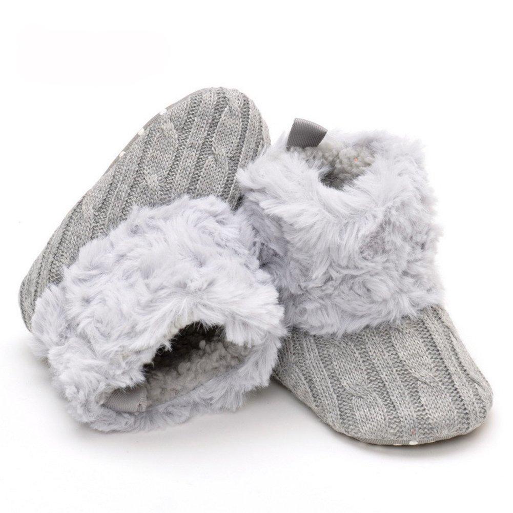 Newborn Baby Cotton Knit Premium Soft Sole Anti-Slip Mid Calf Warm Winter Infant Prewalker Boots