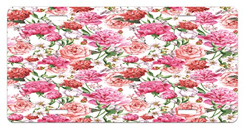 Ambesonne Watercolor Flower License Plate, Victorian Floral Pattern Painting Style Print with Peonies and Roses, High Gloss Aluminum Novelty Plate, 5.88 L X 11.88 W Inches, Pink Red White