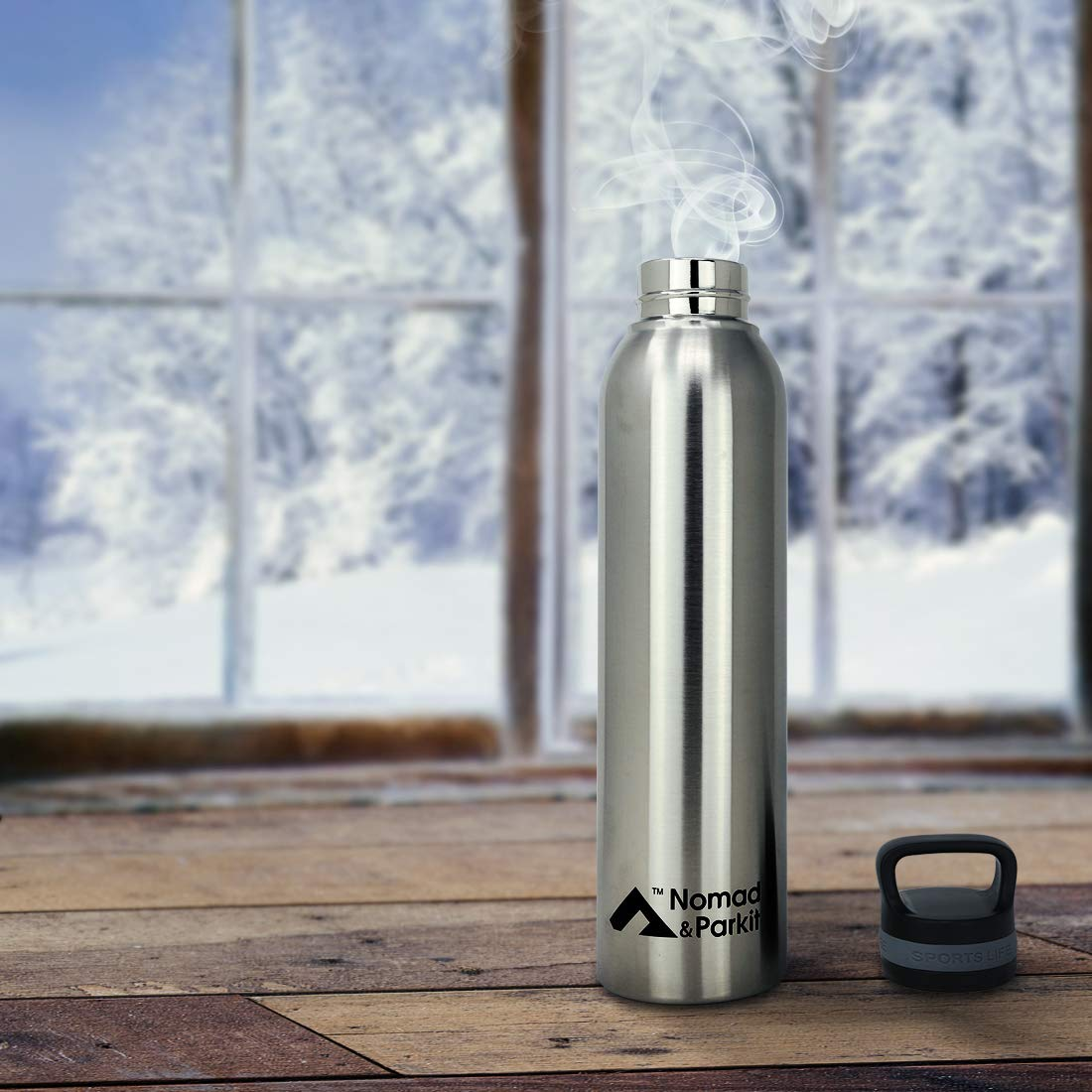 Nomad and Parkit Insulated Water Bottle /– Reusable Stainless Steel Thermal Lock Vacuum Insulated Travel Thermos with Leakproof Lid /– BPA-Free, Durable, Washable Portable Container for Cold, Hot Drinks 31.8
