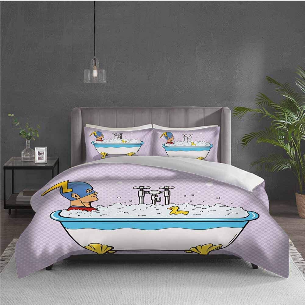 GUUVOR Comics 3-Pack (1 Duvet Cover and 2 Pillowcases) Bedding Superhero Fast Furious Relaxing in Bubble Bath Shower with Rubber Duck Art Print Polyester (Full) Multicolor