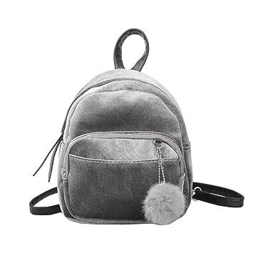 Widewing Mochilas mujer guess Bolso de hombro del bolso de hombro de las mujeres del terciopelo de la mini mochila para las muchachas (gris): Amazon.es: ...